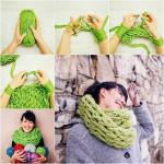 Как связать шарф за полчаса без спиц руками