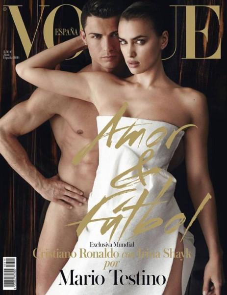 Ирина Шейк на фоне голого Криштиану Роналду на обложке июньского Vogue Spain
