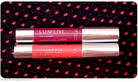 Помада Lumene Miracle Sorbet — 16 Wild Raspberries, 17 Come Into Flower. Обзор, отзыв, макияж.