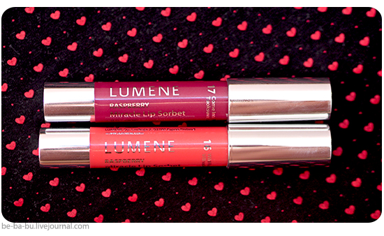 Помада Lumene Miracle Sorbet – 16 Wild Raspberries, 17 Come Into Flower. Обзор, отзыв, макияж.