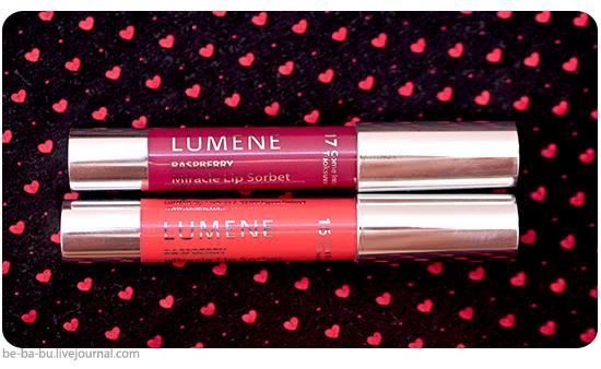 Помада Lumene Miracle Sorbet - 16 Wild Raspberries, 17 Come Into Flower. Обзор, отзыв, макияж. Swatch, свотчи