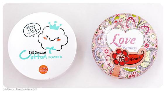 Пудра и румяна от Holika Holika Oil Queen Cotton Powder, Love Fantasy Blusher. Отзыв, обзор, свотчи.