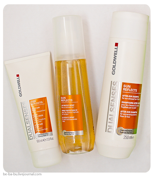 Goldwell Dual Senses Sun Reflects - Hair and Body Shampoo, Leave-In Protect Spray, After Sun Fluid. Отзыв, обзор, состав, review, ingredients