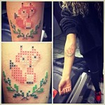 Татуировки, стилизованные под вышивку крестиком: как это?