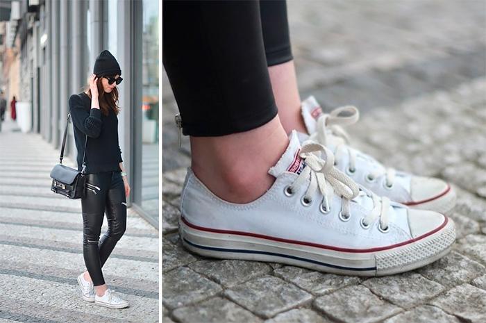 Когда надоели каблуки: женственные образы с кроссовками и кедами