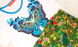 Молочная футболка и брюки с тропическим рисунком от Faberlic. Отзыв