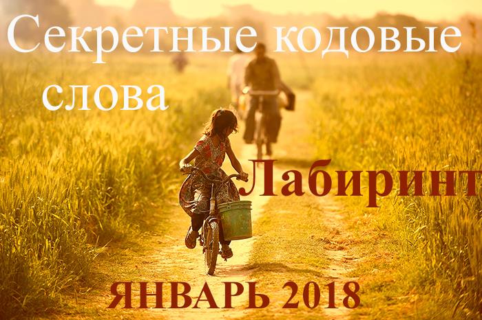Секретные кодовые слова Лабиринт ЯНВАРЬ 2018