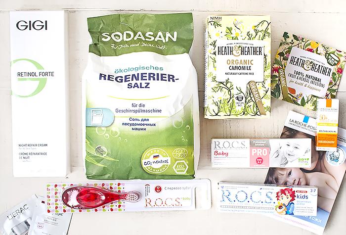 Косметика от GiGi, соль Sodasan, средства для зубов от R.O.C.S. и ромашковый чай