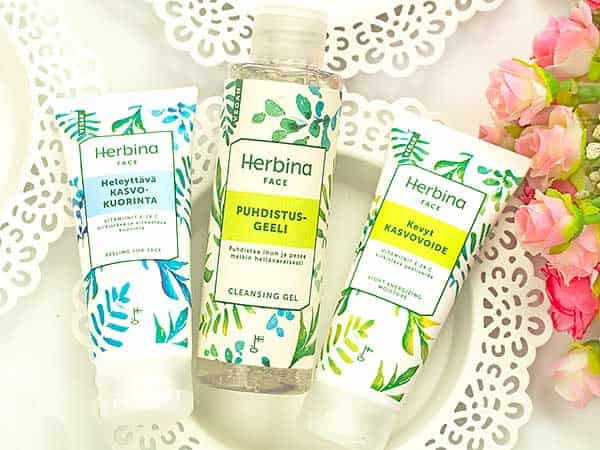 Herbina: очищающий гель, легкий крем, крем-пилинг для лица. Отзыв