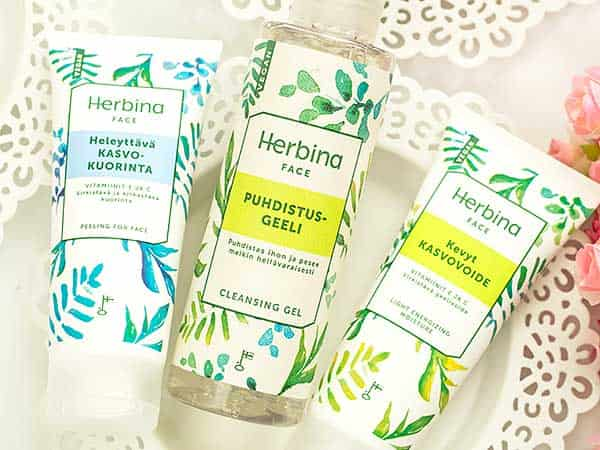 Herbina: очищающий гель, легкий крем, крем-пилинг для лица. Отзыв