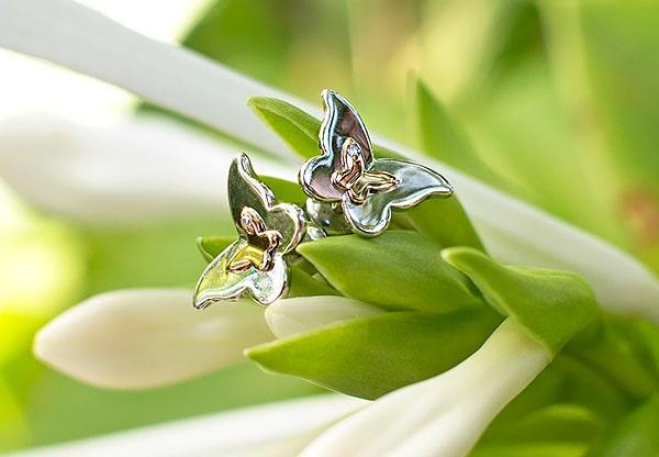 Серьги-бабочки из серебра и золота с бриллиантами от «Алькор». Отзыв и скидка